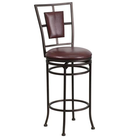 Swivel Bar Stools Leather Seat by 29 Brown Metal Bar Stool With Brown Leather Swivel Seat