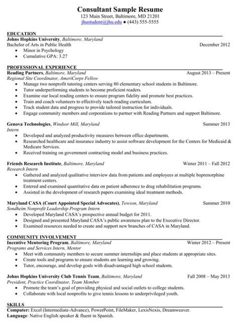 consulting resume templates for free formtemplate