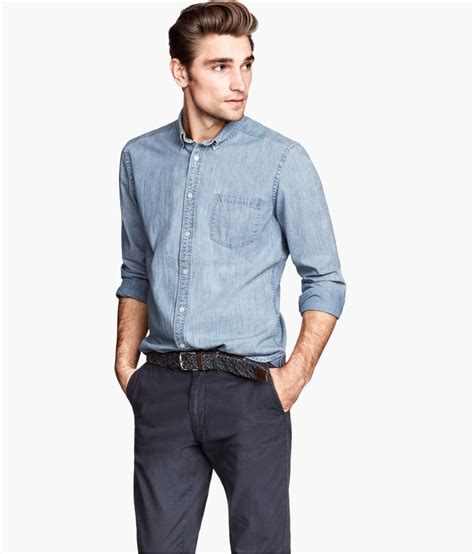 light blue chambray shirt lyst h m chambray shirt in blue for men