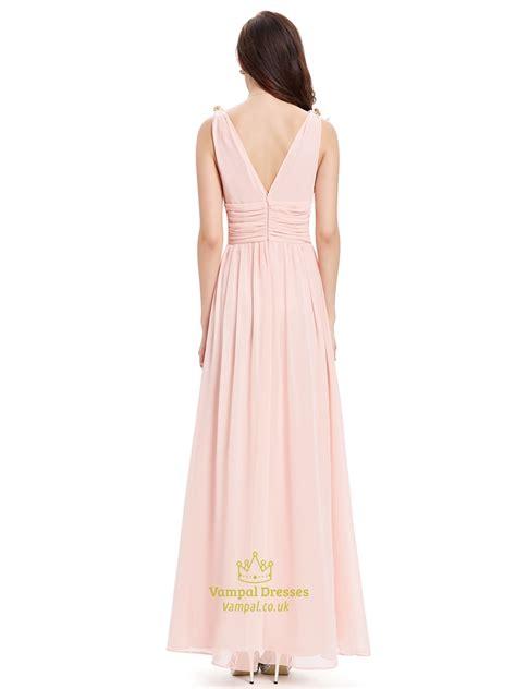 light pink chiffon dress elegant light pink v neck chiffon bridesmaid dress with