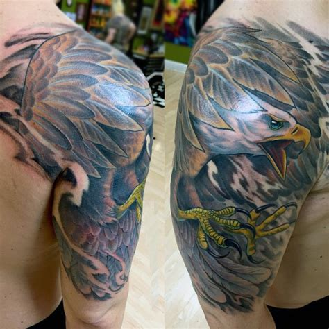 eagle quarter sleeve tattoo 90 bald eagle tattoo designs for men ideas that soar high