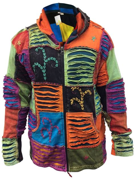 Mens Hippie Patchwork - mens hippy ripped torn hoodie sleeve top patchwork