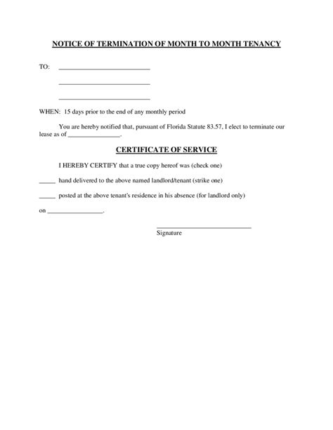 termination letter format with one month notice 2018 lease termination form fillable printable pdf