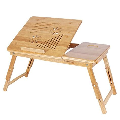 songmics bamboo laptop desk songmics 100 bamboo adjustable laptop desk foldable