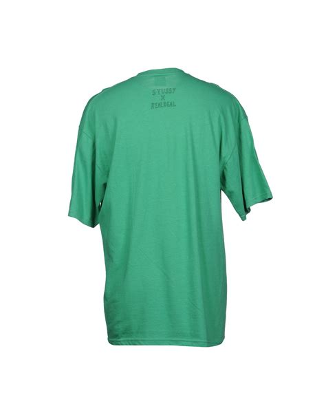 Sleeve T Shirt Stussy stussy sleeve t shirt in green for lyst
