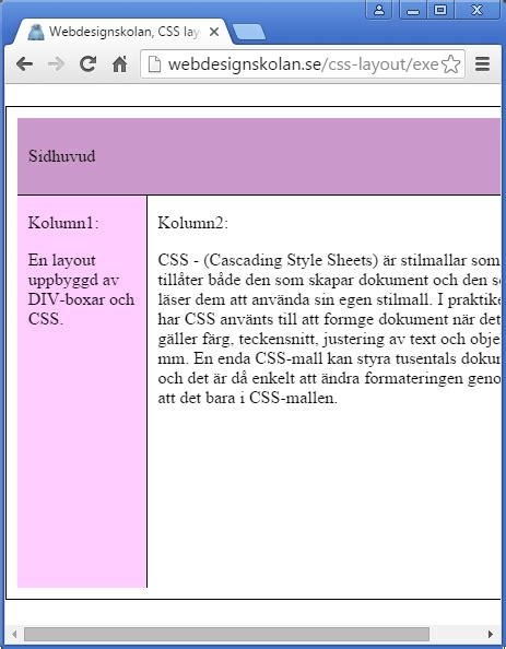 layout css w3c webdesignskolan css layout