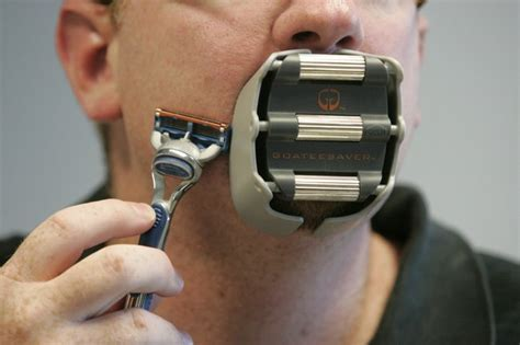 cyborg like shaving guard for goatee grooming boing boing