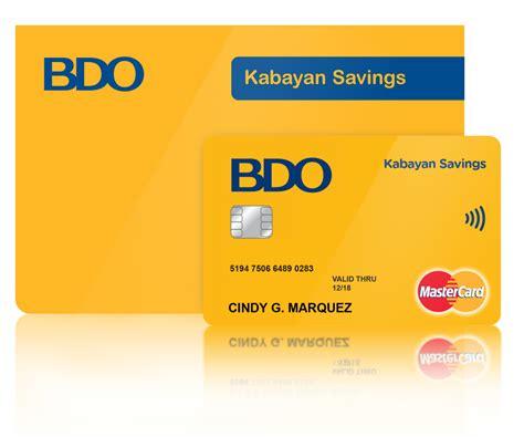 bdo credit card promo bench credit to bdo kabayan savings account bdo unibank inc