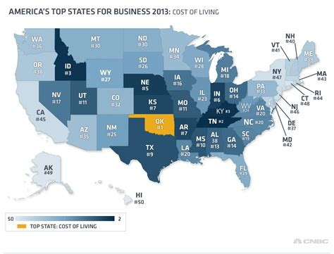 cost of living by state map infographics mapping the states