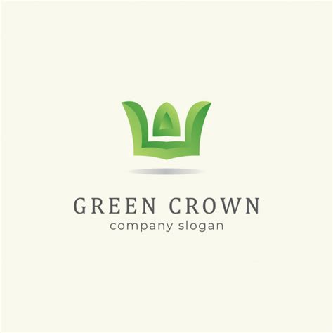 green crown logo premium vector