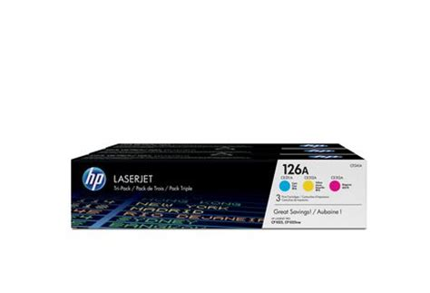 Toner Printer Hp Laserjet 126a Magenta hp 126a cyan magenta yellow original laserjet toner cartridges cf341a 3 pack walmart ca