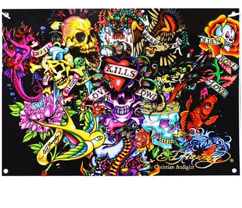 ed hardy home decor ed hardy collage 7 x 5 polyester bedroom dorm room tattoos wall banner decor ebay