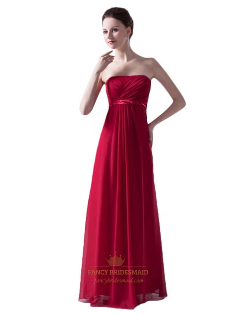 red strapless bridesmaid dresses long empire waist bridesmaid dresses red strapless empire waist chiffon bridesmaid dress with