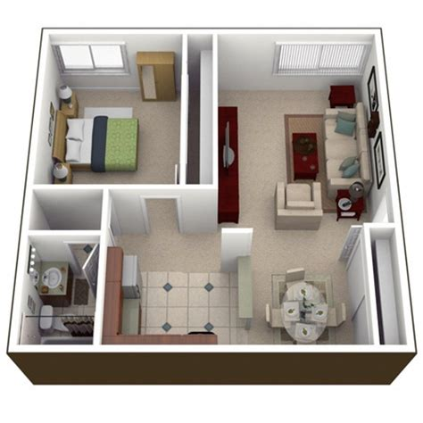 how big is a one bedroom apartment پلان و نقشه آپارتمان یک خوابه با طراحی مدرن