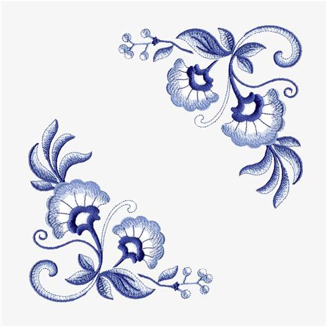 embroidery design vector vector embroidery patterns plant flowers blue and white