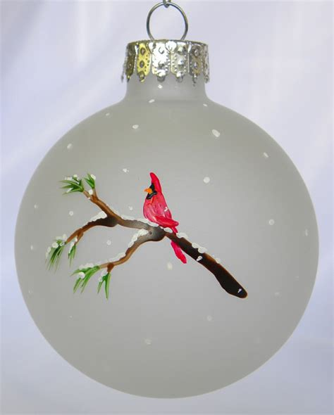 cardinal christmas ornament frosted glass by