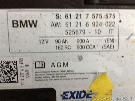 Bmw 1er E87 Agm Batterie by Batterie Bmw E87 120d Bj 2007 177 Ps Bmw 1er E81 E82