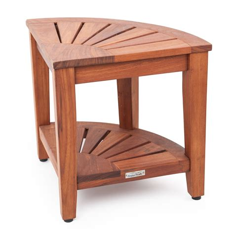 Teak Corner Shower Stool by Aqua Teak Corner Stool With Shelf Shower Seats At Hayneedle