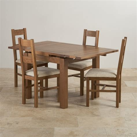 Rustic Oak Dining Chairs Rustic Oak Dining Set 3ft Table With 4 Beige Chairs