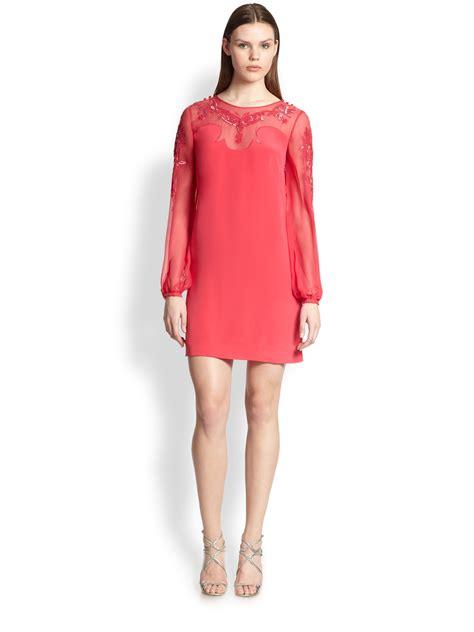 Emilio Pucci Girly Silk Dress by Lyst Emilio Pucci Sequined Silk Cady Chiffon Dress In