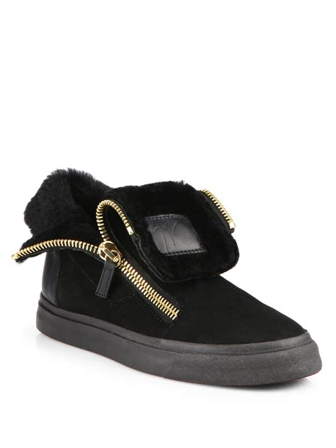zipper sneakers giuseppe zanotti zipper shearing suede sneakers