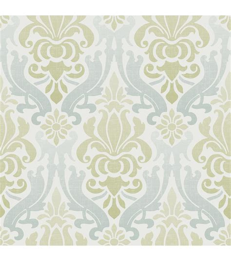 green peel and stick wallpaper wallpops nuwallpaper blue and green nouveau damask peel