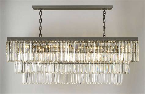 G902 1156 12 Gallery Closeout Retro Odeon Glass Fringe Rectangular Chandelier