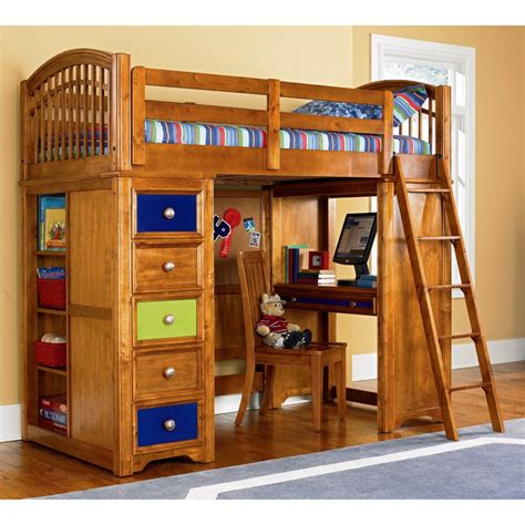 Kids Bedroom With White Wooden Loft Bunk Bed Study Desk Study Loft Bunk Bed