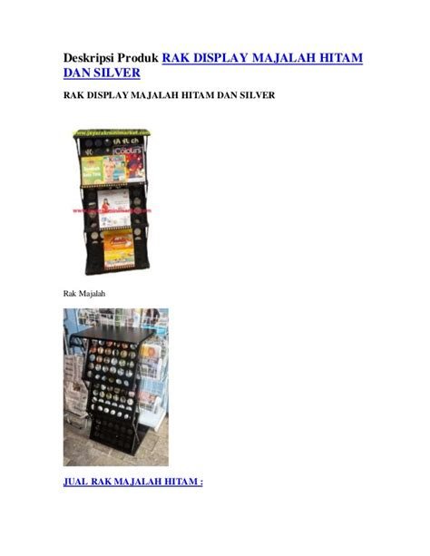 Rak Display Majalah deskripsi produk rak display majalah hitam dan silver