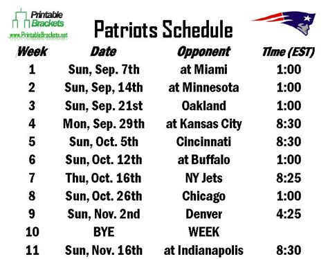 printable schedule for new england patriots search results for new england patriots schedule