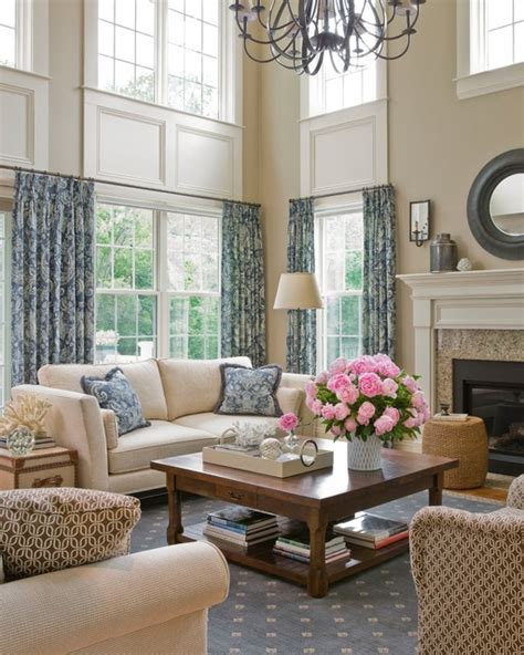 Two Story Living Room Decorating Ideas by Cathedral Living Room Traditional Living Room Boston