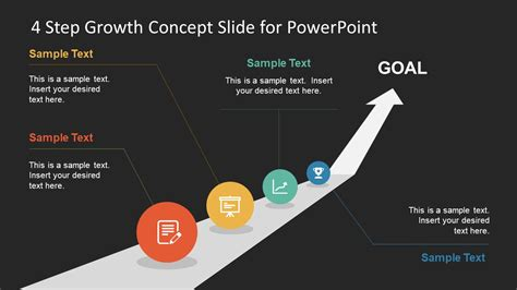 4 step circular growth diagram for powerpoint slidemodel 4 step growth concept powerpoint template slidemodel