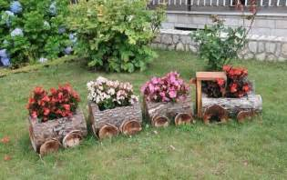 Wooden log train planter the whoot