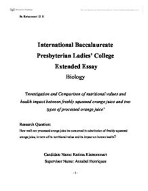 Ib Biology Extended Essay by Biology Extended Essay 2009 International Baccalaureate