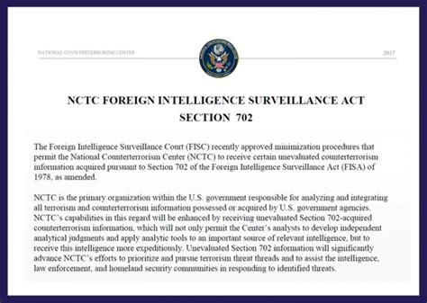 section 702 of the foreign intelligence surveillance act nctc factsheet foreign intelligence surveillance act