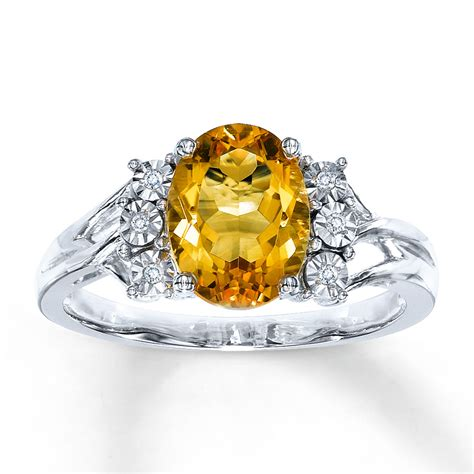Citrine Rings by Citrine Ring Oval Cut With Diamonds Sterling Silver