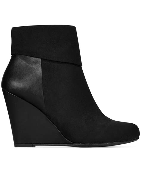 report riko cuffed wedge booties in black lyst