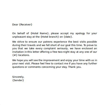 Apologize Letter For Mistake Hotel Hotel Apology Letter 7 Free Documents In Pdf Word