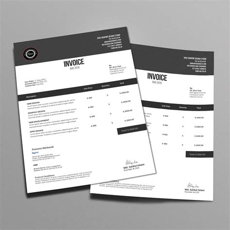 design project invoice template 30 creative invoice designs you would love to send yourself