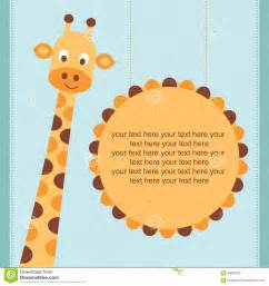 baby shower card birthday card with giraffe stock