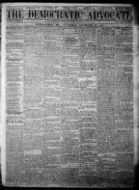 Carroll County Library Digitizes Westminster Newspaper Reflections On Delmarva S Past About The Democratic Advocate Westminster Md 1865 1972 171 Chronicling America 171 Library Of