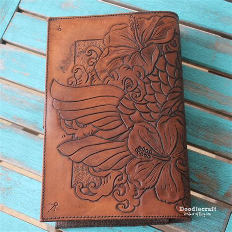 Wall Mural Map leather tooled book cover with koi and hibiscus