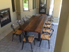 outdoor dining room table reclaimed wood and steel outdoor dining table