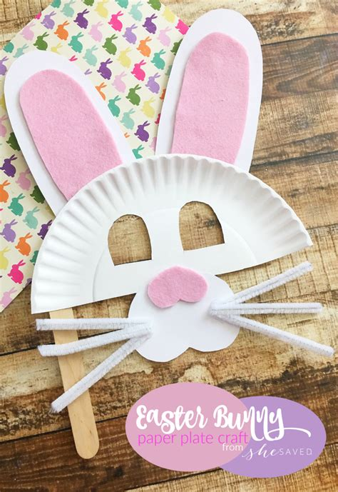 Easter Crafts Paper Plates - easter bunny paper plate mask craft easy easter craft