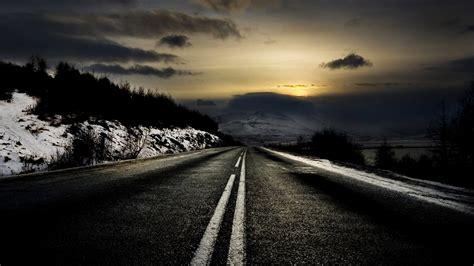 black road winter scenic desktop pc  mac