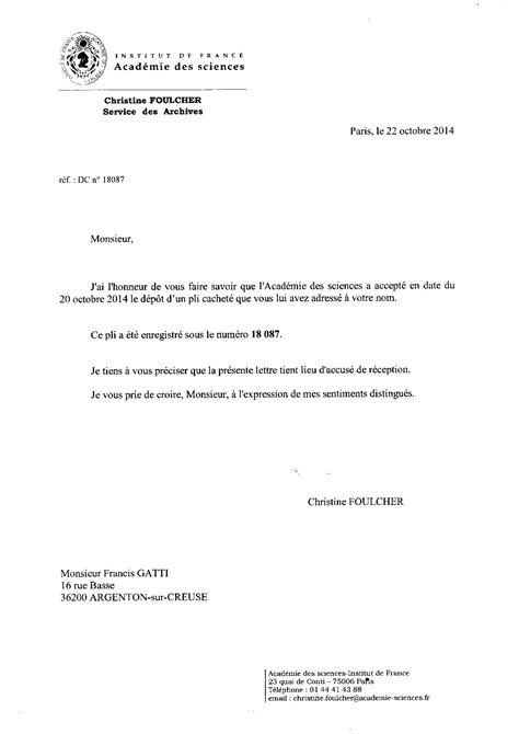 Accusé réception PLI cacheté ACADEMIE N°2 15octobre 2014