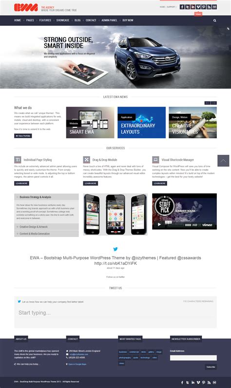 theme wordpress with bootstrap ewa a bootstrap multipurpose wordpress theme by the