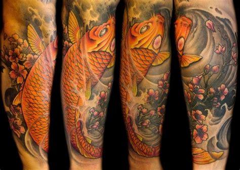 tattoo pez koi pierna tatuajes del pez koi