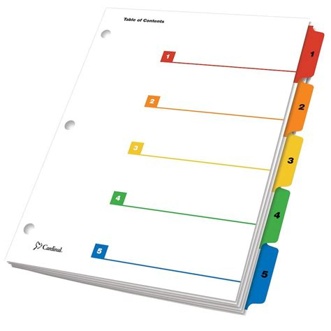 color dividers onestep 174 printable table of contents dividers 5 tab