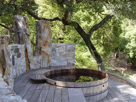 Deck Fountains by Deck Overlooking Pond Deck Rustic With Rustic Wooden